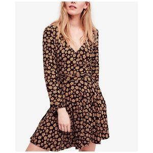 Free People pradera long sleeve floral wrap dress